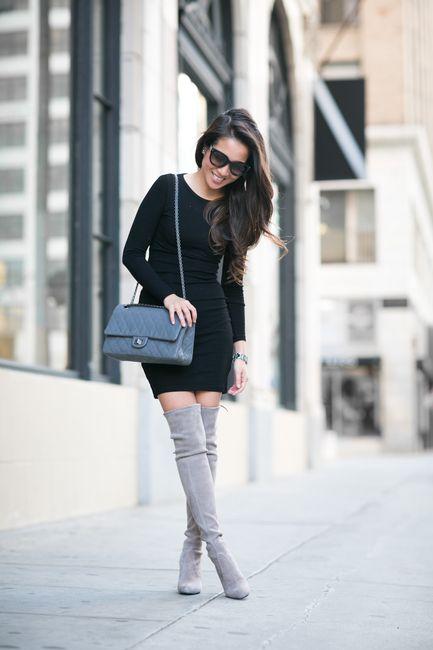 New Classics :: Knit dress & High boots :: Outfit :: Vest :: Intermix Dress :: ASOS Bag :: Chanel Shoes :: Stuart Weitzman Accessories :: Prada sunglasses, BaubleBar ring, Cartier watch Published: February 25, 2015