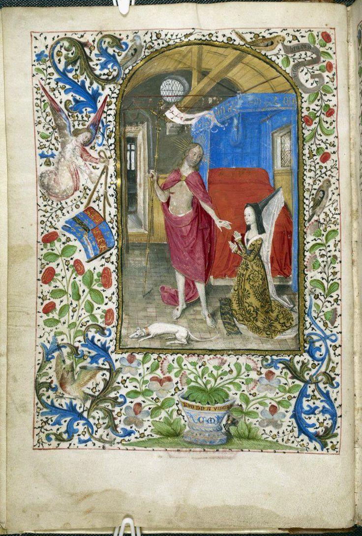 Margaret of York devant le Christ ressuscité, Nicolas Finet, Dialogue de la Duchesse de Bourgogne, Bruxelles, c. 1468, année de son mariage avec Charles le Chauve, British Library, Additional 7970, f. 1 v.