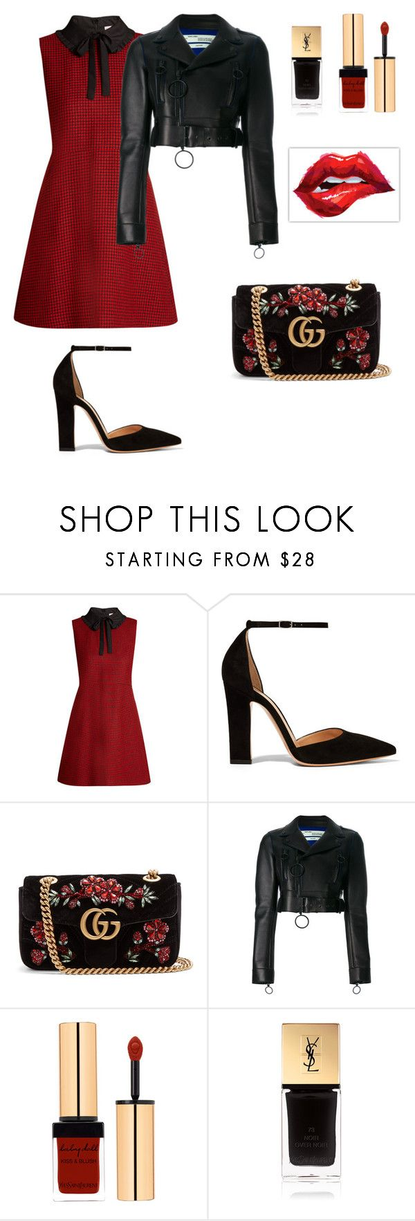 """""""Heart of glass"""" by kamiren ❤ liked on Polyvore featuring RED Valentino, Gianvito Rossi, Gucci, Off-White and Yves Saint Laurent"""