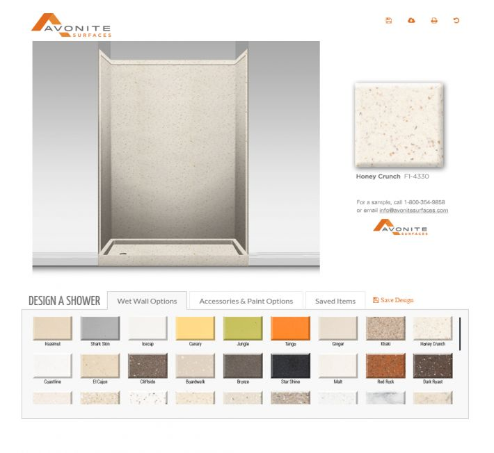 Wet Wall Visualizer - interested in visualizing your shower designs with Avonite solid surface?