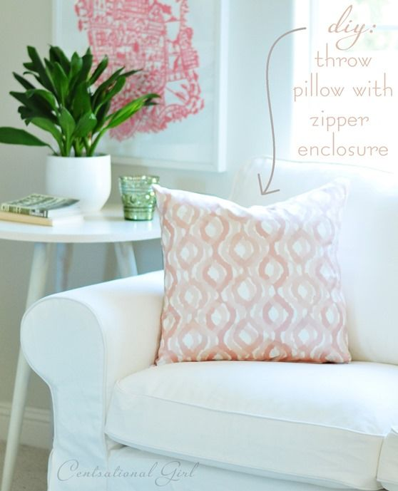 How to sew a zipper: easy throw pillow zipper enclosures @Centsational Girl Blogger Home ...
