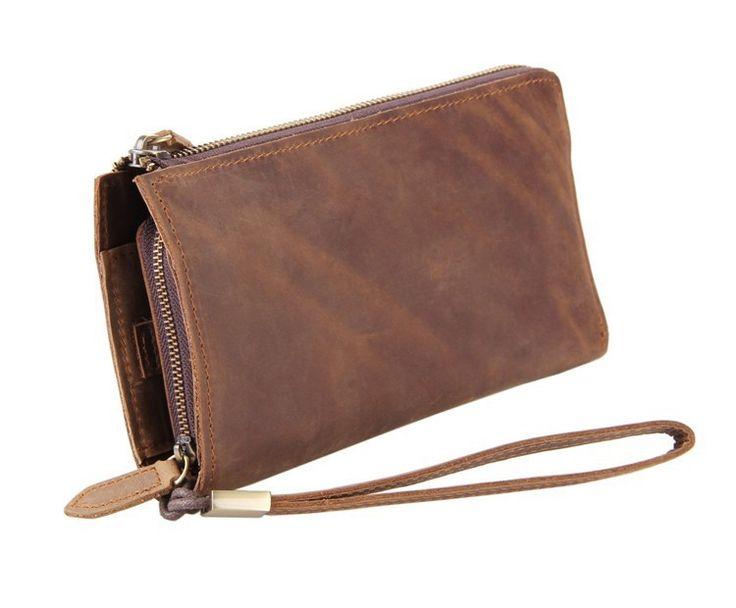 Vintage Brown Full-Grain Leather Clutch Wristlet Wallet