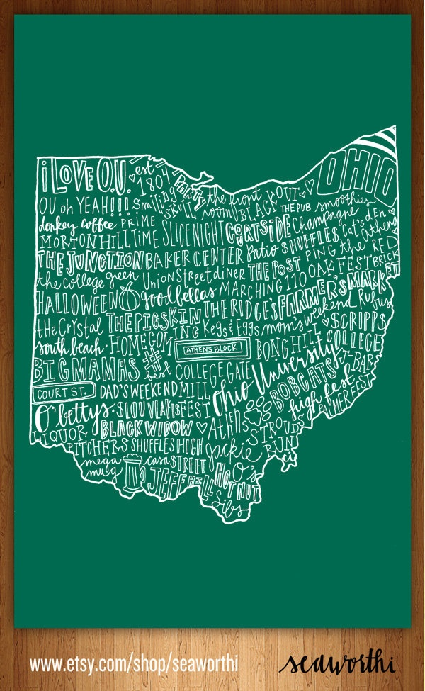 This website has kent, ohio state, ohio u, lake erie islands and more in a cool poster shaped like ohio!
