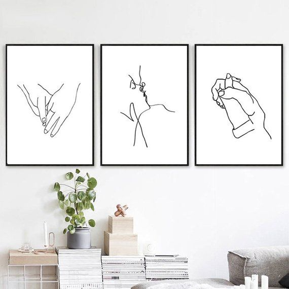 Hands Line Art Set Of 3 Prints Valentines Day Holding Hands Etsy Romantic Wall Art Wall Art Prints Wall Printables