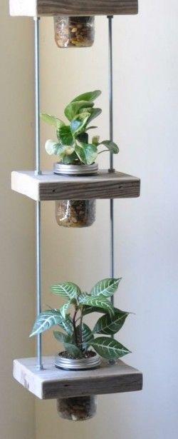 Como hacer jardines verticales con trozos de madera y tarros de crista!! Fácil fácil!!!