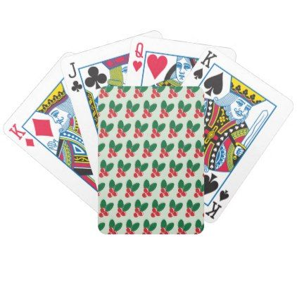Christmas Red Berries Green Leaves Pattern Bicycle Playing Cards - home gifts ideas decor special unique custom individual customized individualized