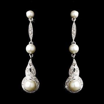 Pearl And CZ Wedding Drop Earrings