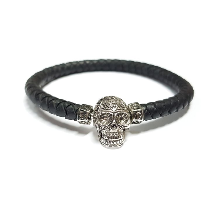 MEMORINE Mexican Skull MASCOT with Black Leather Bracelet