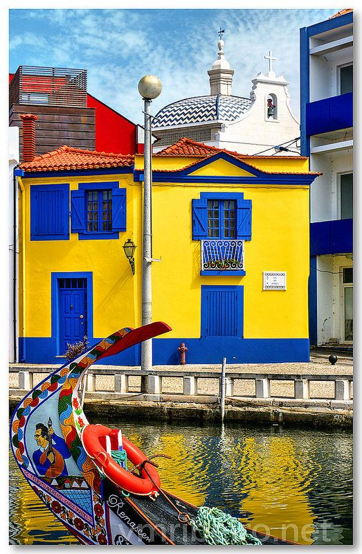 Colorful houses in Aveiro, Portugal