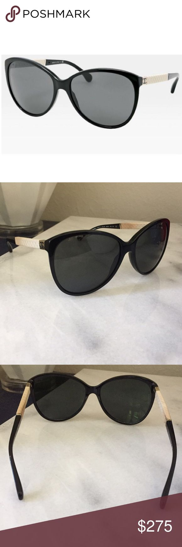 RARE: Chanel Sunglasses 5225Q Chanel Sunglasses 5225Q Black and White. These are used and have makeup stains on the sides. Priced as such. 100% authentic and no scratches. Pls ask questions :) comes with original glasses case, cloth, and box. CHANEL Accessories Sunglasses