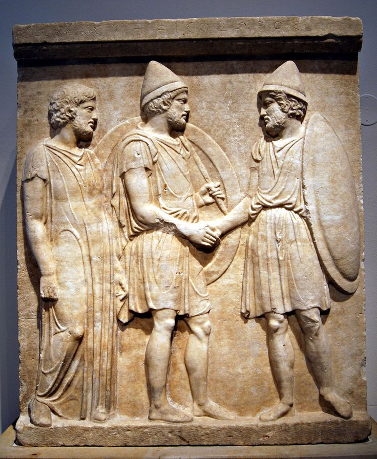 Gravestone of Sosias and Kephisodorus: two citizen-hoplites wearing the Greek Pileus cap, shake hands; a man in a priestly tunic at left. Athens, c. 410 BCE.