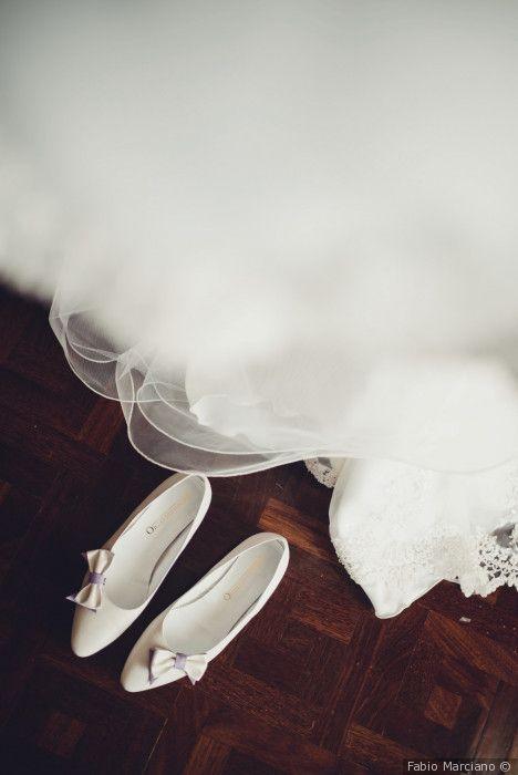 Scarpe da sposa bianche modello ballerina bassa