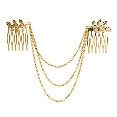 Leaves And Tassels Hair Comb - USD $ 2.99