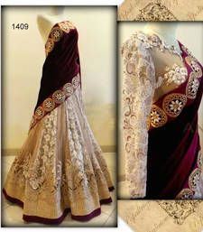 Buy maroon and off white heavy worked velvet and net bridal lahenga with blouse bridal-lehenga online