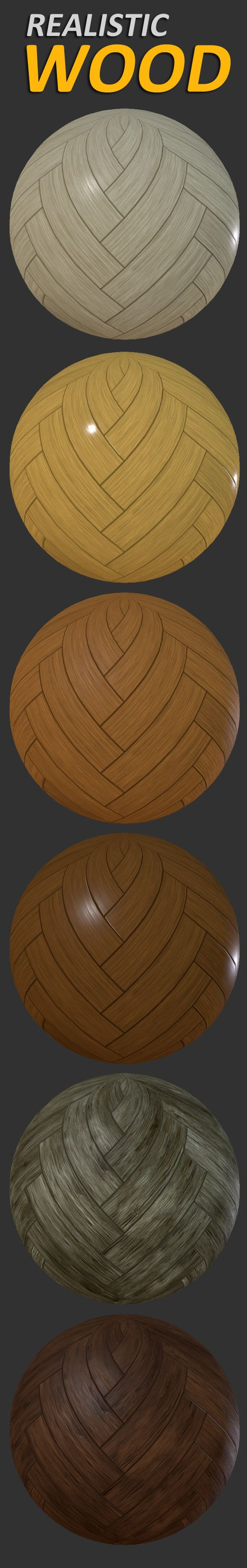 Realistic Wood Textures: - 4 types of Wood for Furniture (3 levels of glossiness) - Simple Old Wood - 2 types of Wooden Parquet (3 levels of glossiness) - Old Wooden Parquet - Simple Painted Wood - Damaged Painted Wood - Wooden Planks - Painted Wooden Planks  All wood style includes a BW Albedo map for customized color.  Unity Package with Standard Specular materials included.