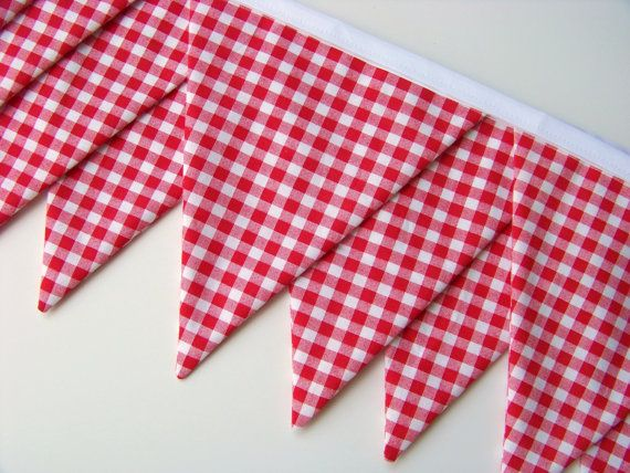 Red Gingham Fabric Bunting Banner Birthday Banner by nestables, $25.00