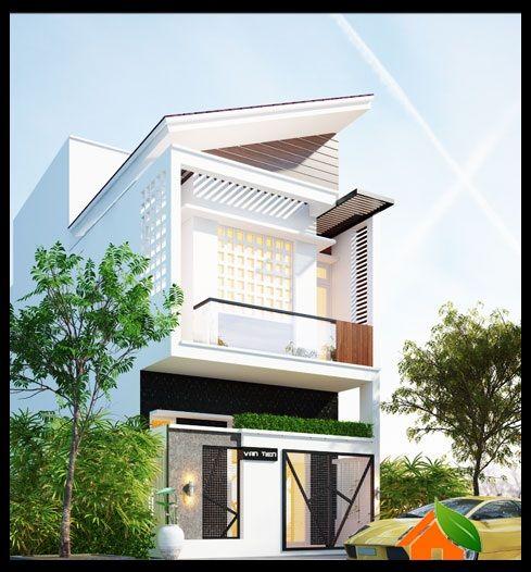 Mẫu thiết kế nhà phố 2 tầng mặt tiền 5m mái xéo hiện đại ở Quảng Trị