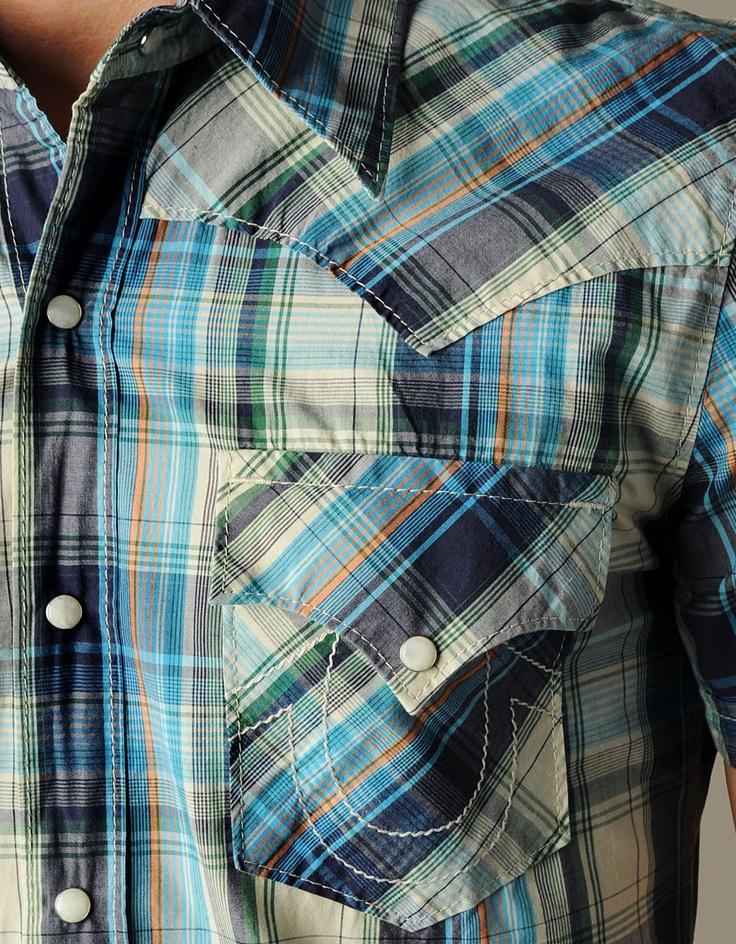 Men's S/S Mick Poplin Plaid Western - Wharf | True Religion Brand Jeans