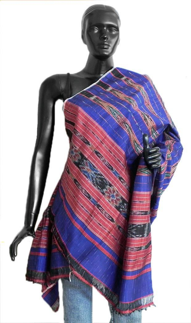Blue+with+Red+Stole+with+All-Over+Ikkat+Design+(Silk+Cotton)