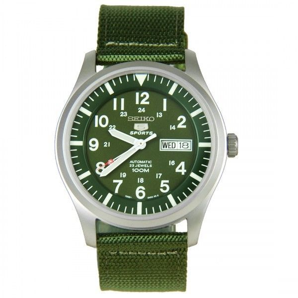 Seiko 5 Sport Automatic Khaki Green Canvas Green Dial Mens Watch SNZG09