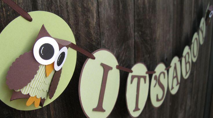 owl themed baby shower banner