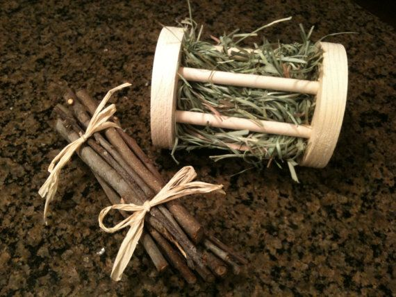 For Bunny: Roller Toy/Hay Feeder & Apple Twigs by TheBlissfulBunny on Etsy, $9.00
