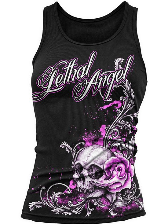 "Women's ""Floral Skull"" Tank by Lethal Angel (Black)"