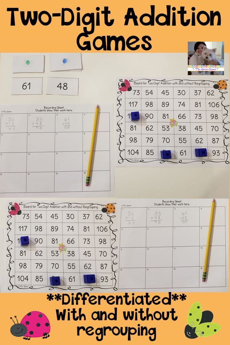 This game is a fun, hands-on activity that engages students as they practice adding two digit numbers with and without regrouping. This activity could easily be used in small group instruction, as a supplement to your math curriculum, as a fast finisher activity, or to differentiate your instruction. #elementary #addition #mathgames #teaching