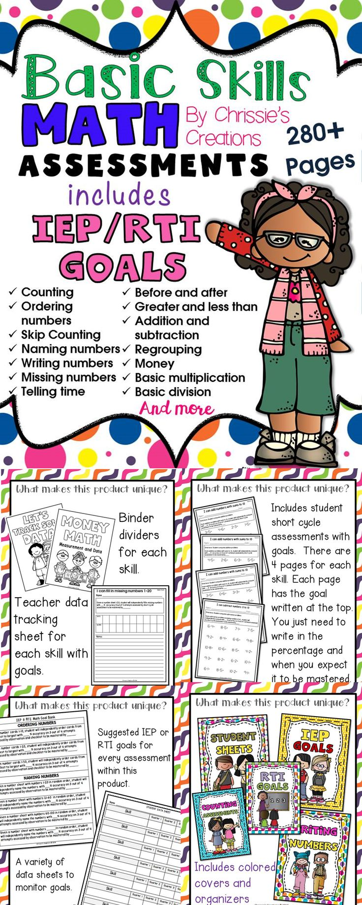 Special education basic skills math assessments is a basic binder set up for assessing students on basic skills math.  Each math assessment includes IEP Individual Education Plan and RTI response to Intervention suggested goals.  There are data sheets included as well as binder covers and dividers for each section. you must take a closer look at this product on TpT visit Chrissie's Creations to see more details and other great products.