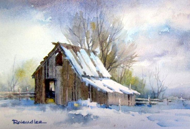 Original watercolor painting of a Utah barn during a winter snowfall