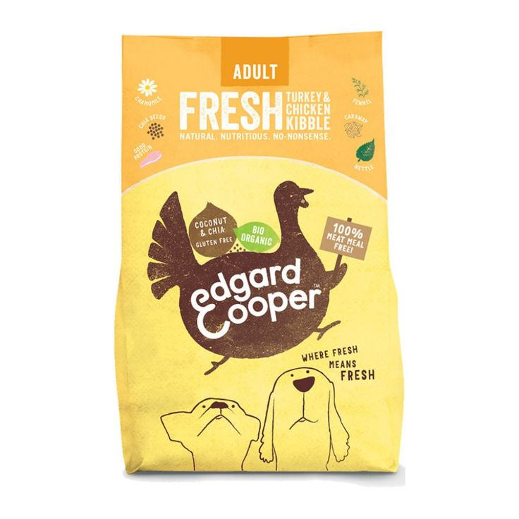 Edgard&Cooper Organic Chicken & Turkey -kuivaruoka koiralle. Herkullinen 100 % luomutäysravinto!