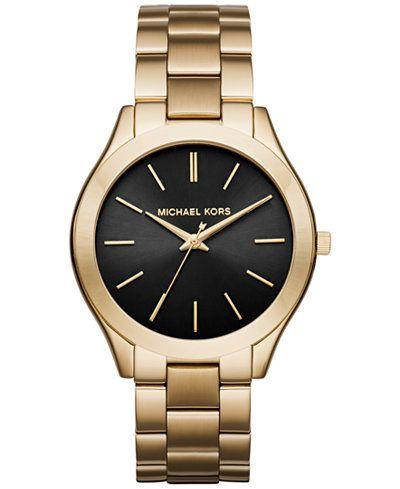 Michael Kors Women's Slim Runway Gold-Tone Stainless Steel Bracelet Watch 42mm MK3478