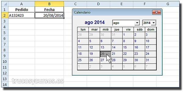 Calendario en celda Excel VBA: Hoja Excel con calendario para insertar fecha en celda activa