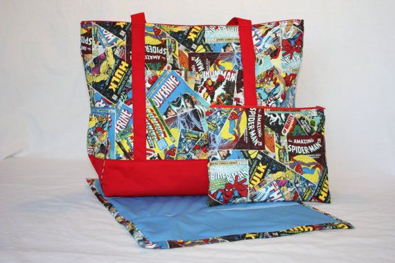 Handcrafted Avengers Comic Book Boy Diaper Bag by MamaBellaofAZ, $65.00