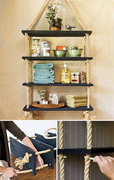 Nautical effect shelves. Directions to make are in Spanish but there is a photographic tutorial.  Beach House, cottage decorating, coastal living by the sea décor, Nautical, coastal feel