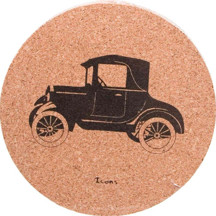 Cork Coasters Set Icons - Antique Car