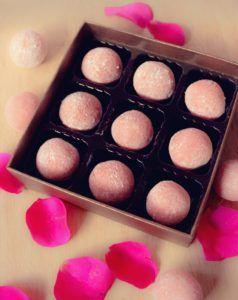 Rose white chocolate truffles