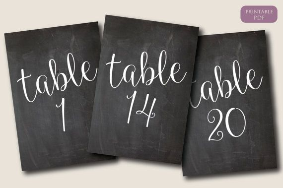 Chalkboard Table Numbers 1-20