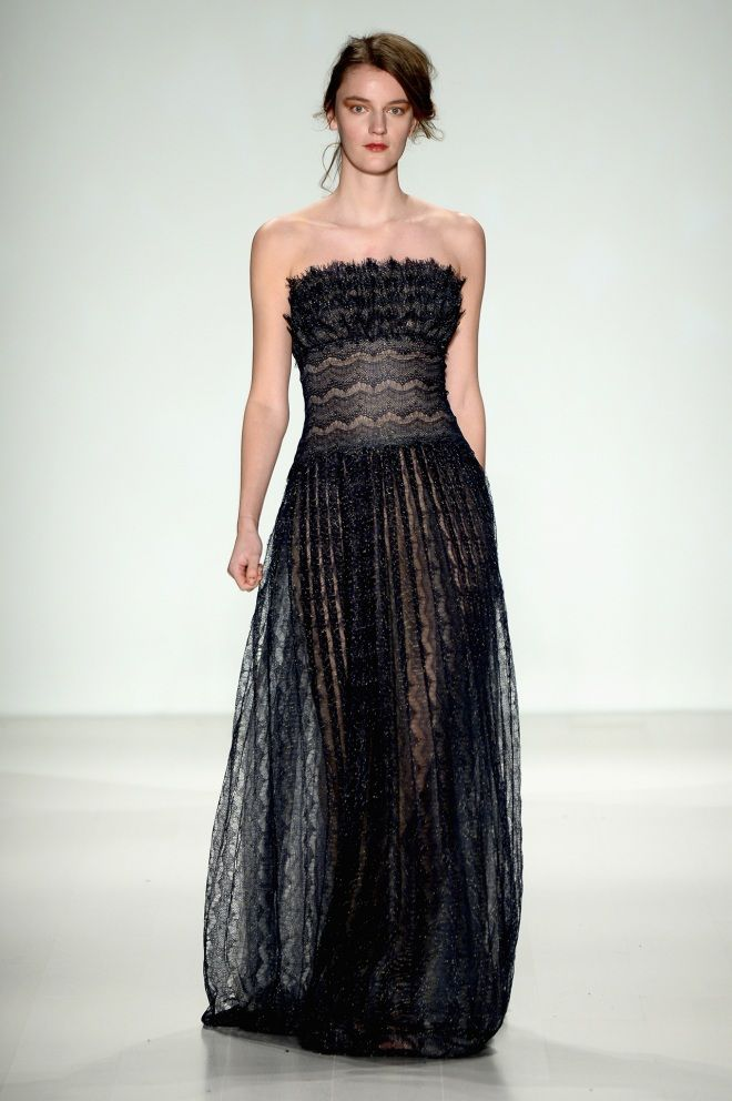 Sheer skirts are trending at full force, along with the illusion gown #tadashishoji #blackisthenewblack
