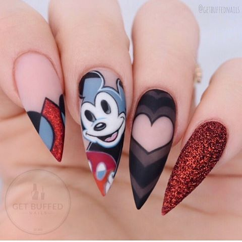 ❤️ Hey Mickey! ❤️ @tdrogerson Disney/Picasso inspired work is out of this world I made two different versions of this set, will post the other one tomorrow.. @gfa_australia gel polish @glitter_heaven_australia glitter ✨ @uglyducklingnails acrylic and matte top