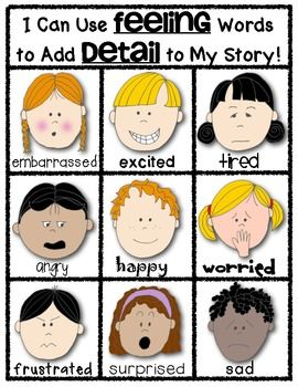 Writers Workshop POSTER: Adding DETAILS using FEELING WORDS. Blackline and color included. $