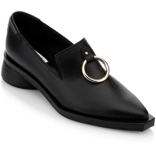 Reike Nen Ring Square Loafer (2.275 DKK) ❤ liked on Polyvore featuring shoes, loafers, black, loafer shoes, black leather shoes, genuine leather shoes, black loafers and kohl shoes