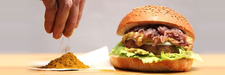 The CHICKEN BURGER. Chicken, red cabbage, provolone, lettuce, extra virgin olive oil, curry sauce, sour dough bread.