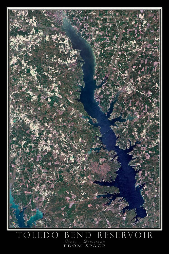 Toledo bend lake texas louisiana from space satellite for Toledo bend fishing map
