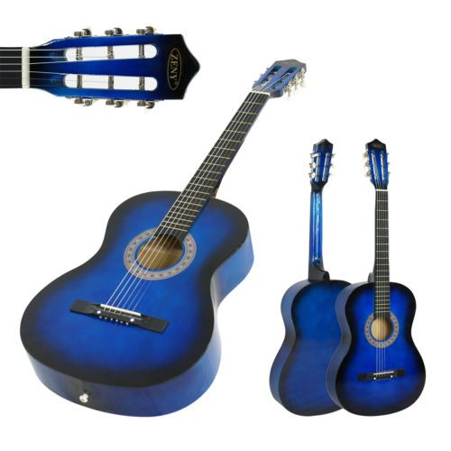 Guitar New Beginners Acoustic With Case Strap Tuner And Pick Blue