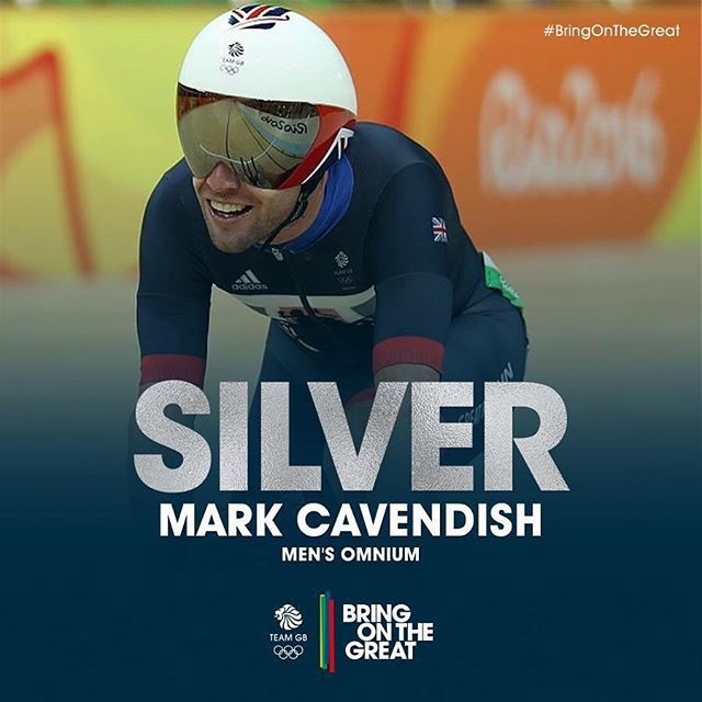 #Silver! He does it! Mark Cavendish picks up vital points in the final sprints of Race 6 and claims Silver in the Men's Omnium. Congratulations Cav! #CyclingTrack