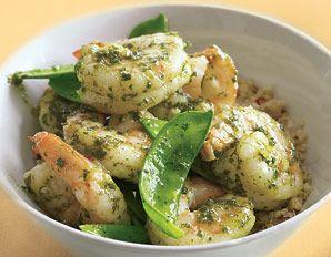 Pesto Shrimp with Snow Peas over Quinoa: 3/4C uncooked quinoa, 1 1/3C water, 1T EVO, 2 cloves garlic, 1# lg peeled shrimp, 3c snow peas, 1/4C prepared basil pesto, 2T lemon juice