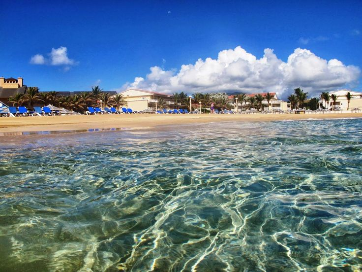 View of the beach from the water, at the St. Kitts Marriott Resort.
