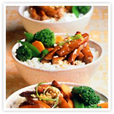 Chicken Teriyaki Rice Bowl - trying this sauce this week....chicken is soaking now.1/2 cup Kikkoman Teriyaki Marinade & Sauce  2 tablespoons sugar  1-1/2 pounds boneless, skinless chicken breasts,  cut crosswise into 1/2-inch thick slices  2 teaspoons cornstarch  2 tablespoons vegetable oil  Hot cooked rice  Steamed vegetables