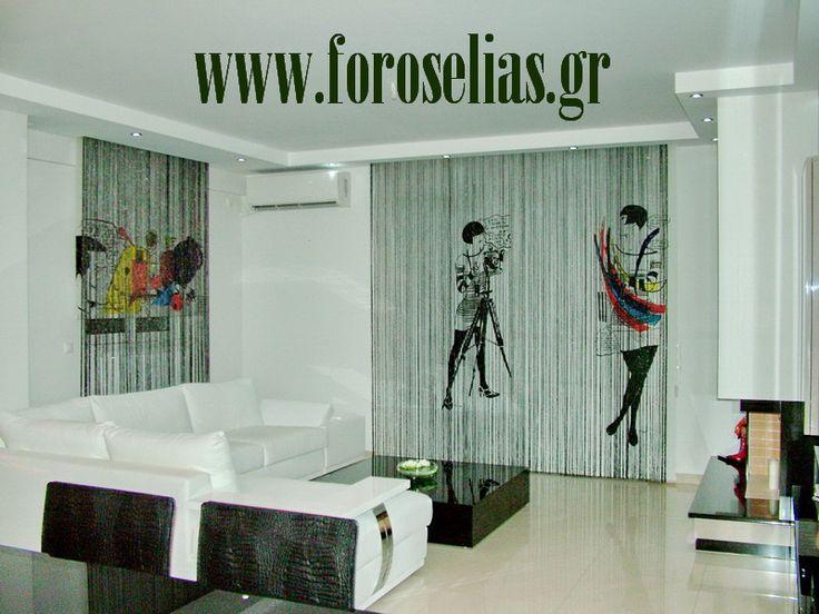 ΦΟΡΟΣ ΗΛΙΑΣ :: Κουρτίνες πάνελ και ρόλερ φιλοτεχνημένες με ζωγραφική στο χέρι ::